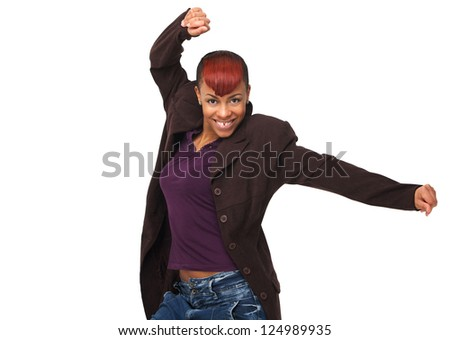 Portrait of an African American woman smiling with hands up