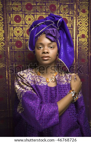 of an African American woman wearing traditional African clothing