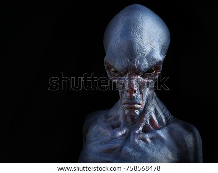 Portrait of an angry looking alien creature, 3D rendering. Black background.