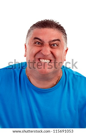 Portrait of an  angry  man, isolated on white
