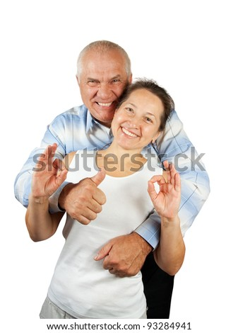 Portrait of an attractive mature couple, isolated against a white background