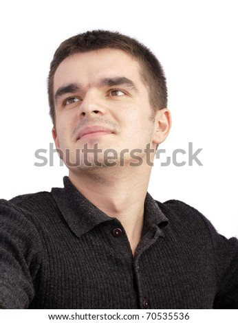 Portrait of an attractive young man over white background