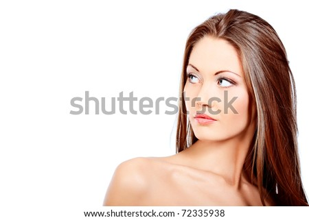 Portrait of an attractive young woman. Isolated over white background.