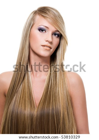 portrait of an attractive young woman with long straight blond hair