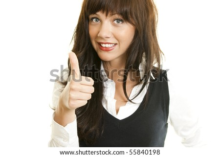 Portrait of an attractive young woman with thumb up