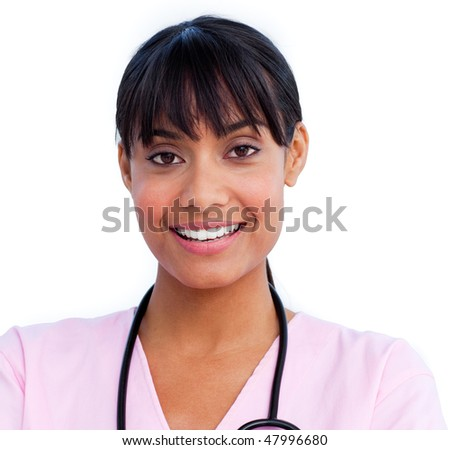 Portrait of an charming female doctor holding a stethoscope against a white background