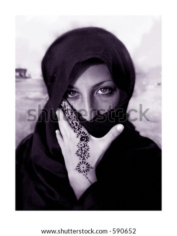 stock photo : Portrait of an egyptian women in Sinai, Egypt