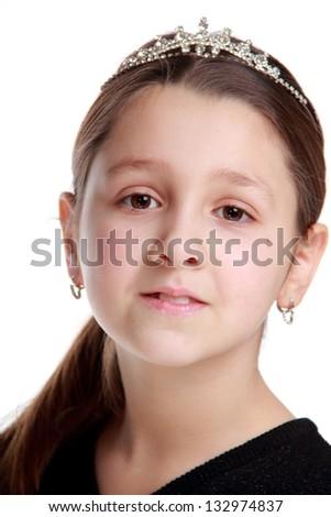 Portrait of an elegant little girl on white background