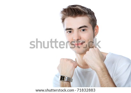Portrait of an emotional young man. Isolated over white background.