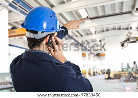 Portrait of an engineer working in a factory