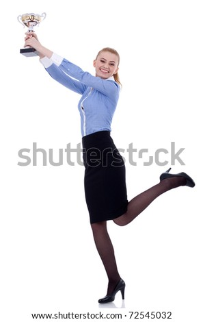 Portrait of an excited young business woman winning a trophy, isolated on white background