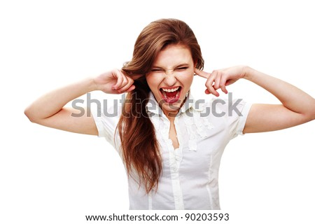 Portrait of an excited young woman screaming against white background