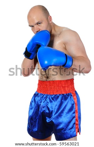 Portrait of an experienced boxer in gloves. Isolated on white background