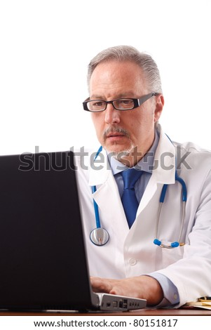 Portrait of an experienced doctor doing search on the web