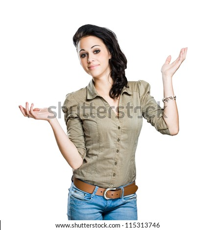 Portrait of an expressive attractive young woman isolated on white background.