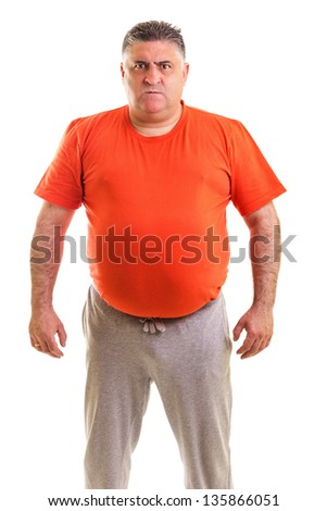 Portrait of an expressive fat  man isolated white background