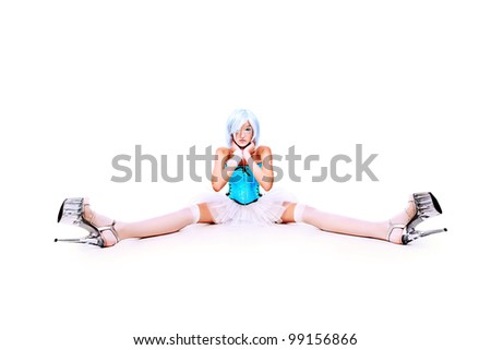 Portrait of an extravagant blonde model. Isolated over white.