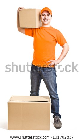 Portrait of an handsome deliverer