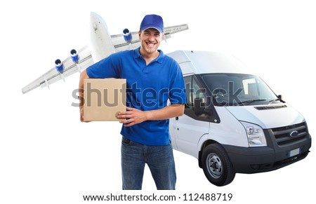Portrait of an handsome deliverer