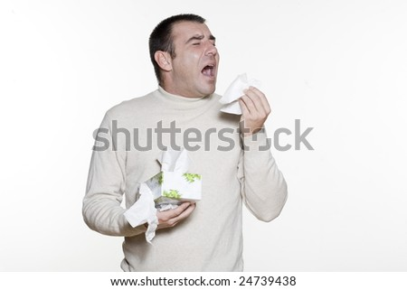 Portrait of an handsome expressive man in studio on white isolated background