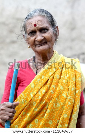 Portrait of an Indian old woman