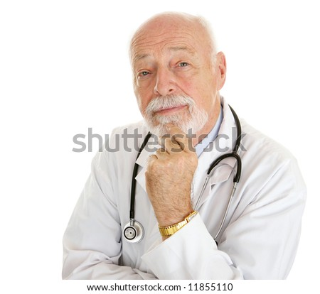 Portrait of an intelligent, thoughtful doctor isolated on white.