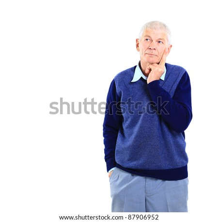 Portrait of an old business executive lost in deep thought against white background