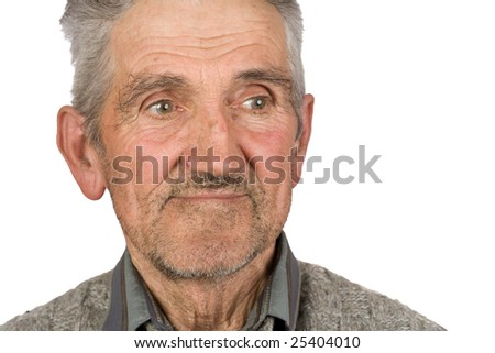 Portrait of an old farmer isolated on white