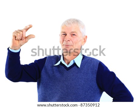 Portrait of an old man holding something imaginary in his hands on white
