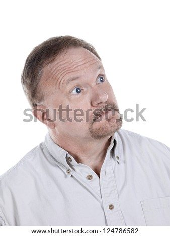 Portrait of an old man looking to the side of a white background