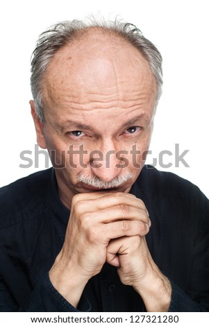 Portrait of an old man on a white background
