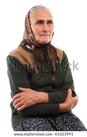 Portrait of an old woman isolated on white background
