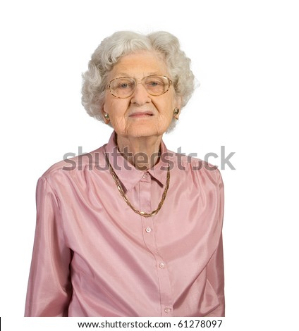 Portrait of an old woman. Shot against a white background.