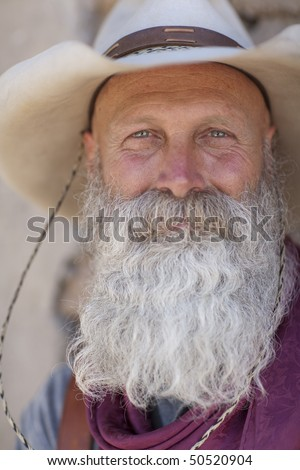 Stupendous Portrait Of An Older Man With A Long White Beard And Cowboy Hat Short Hairstyles Gunalazisus