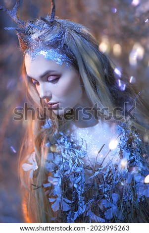 Portrait of an pensive enchanting forest nymph and blonde hair covered with ice. Fairytale character.  商業照片 ©