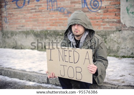 portrait of an unemployed man looking for a job