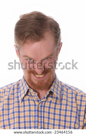 Portrait of angry man on white background
