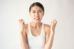 Portrait of angry pensive mad crazy stress asian woman screaming out (expression, facial), cry girl, beauty portrait of young panic burnout drama asian woman isolated on white background.