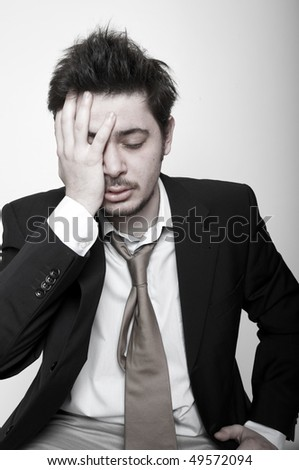 Portrait of angry stressed businessman