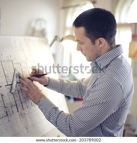 Portrait of architect working on project