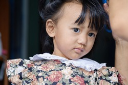 Portrait of asian baby girl , Face looking at glancing