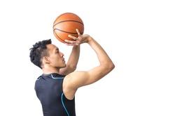 Portrait of Asian Basketball Player Shooting