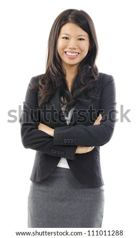 Portrait of Asian business / educational woman over white background