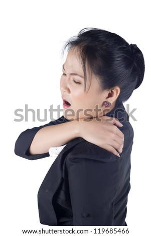 portrait of asian business woman suffering from the pain and massaging her neck, Model is Asian woman