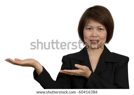 Portrait of Asian businesswoman with palms up gesture