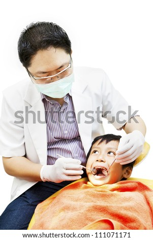 Portrait of asian dentist examining oral cavity isolated on white