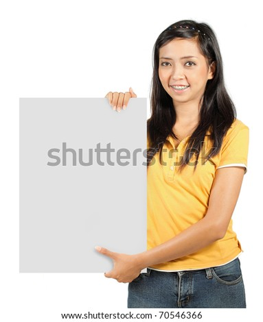 portrait of asian girl holding a big blank white card