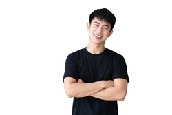 Portrait of Asian handsome young man in black t-shirt smiling isolated on whitebackground