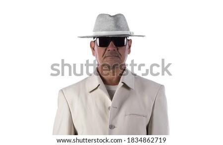 portrait of asian old man in hat on white background,yakuza, triad, mafia ストックフォト ©