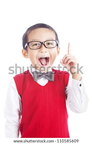 Portrait of asian schoolboy raising his hand to convey his idea - isolated on white